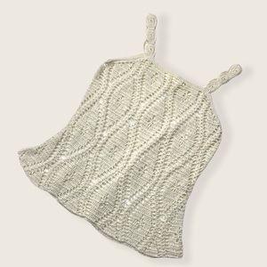 Vintage Hiroko Crochet Cream Knit Sleeveless Top S